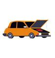 broken car with open hood road accident or crash vector image vector image