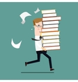 Businessman run holding a lot of documentation in vector image