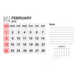Calendar February 2015 vector image vector image