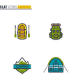 Camping flat line icons vector image vector image