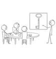 cartoon business team on brainstorming vector image vector image