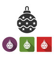 christmas tree decoration icon vector image vector image