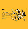 city future isometric web banner vector image vector image