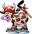 Cow Playing Hockey Sport vector image vector image