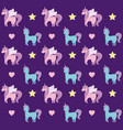 cute unicorns of fairy tale pattern vector image vector image