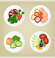 dish collection plates set vector image