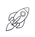 doodle rocket space with a flame vector image