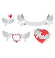 doves and hearts with banners vector image