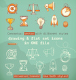 drawing and flat set icons conceptual vector image