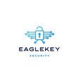 eagle bird key padlock tech logo icon vector image