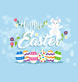 easter greeting card happy rabbit and eggs vector image
