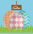 eggs painted in the field happy easter vector image vector image