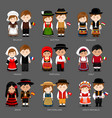 europeans in national dress vector image vector image