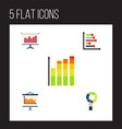flat icon graph set of pie bar infographic vector image vector image