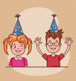 happy birthday card with little kids vector image vector image