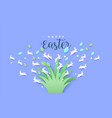 happy easter paper cut card rabbit jumping vector image vector image