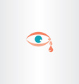 human eye cry tear icon vector image vector image