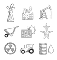 Industrial and mining sketched icons vector image vector image