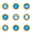 inkpot icons set flat style vector image vector image
