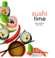 japanese sushi banner with rolls and ebi nigiri vector image