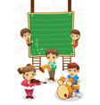 kids playing music poster vector image