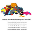 messy clothing pile with a sleeping cat about vector image
