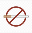 no smoking sign on a transparent vector image vector image