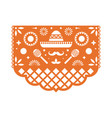 papel picado greeting card with floral pattern vector image vector image