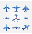 Plane blue icons vector image
