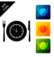 plate with clock fork and knife icon isolated on vector image