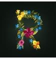 R letter Flower capital alphabet Colorful font vector image