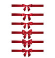 realistic red bow with horizontal red ribbons vector image
