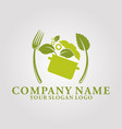 restaurant leaf logo 6 vector image vector image