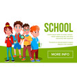 school eduacation banner girls boys vector image