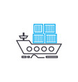 sea container transportation thin line vector image vector image