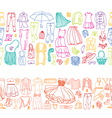 seamless borders of different women clothes vector image vector image