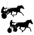 set black silhouette of horse and jockey vector image vector image
