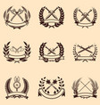set emblems with wreaths and swords design vector image vector image