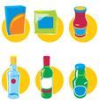 set icons with food and drinks vector image vector image