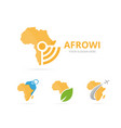 set of africa logo combination safari and signal vector image vector image