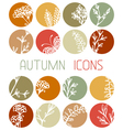 Set of autumn flat icons vector image