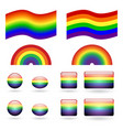 set of gay pride symbols vector image vector image