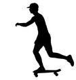 silhouettes skateboarder performs jumping on a vector image vector image