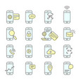 smartphone facility icons - nfc mobile payment vector image vector image
