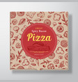 spicy bacon pizza realistic cardboard box vector image