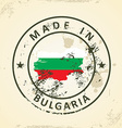 Stamp with map flag of Bulgaria vector image vector image