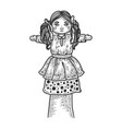toy puppet doll on hand sketch vector image vector image