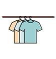 tshirts hanging in hook vector image