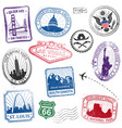 us monuments grunge stamps vector image vector image
