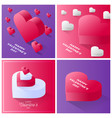 valentine day card set happy valentine day red vector image